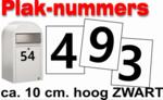Plaknummers zwart 10cm