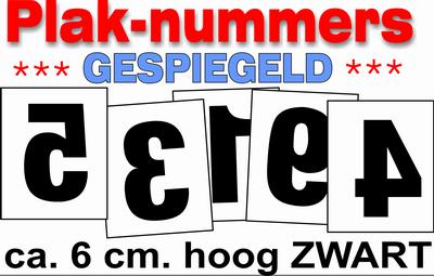 Huisnummer stickers Zwart Gespiegeld 6CM