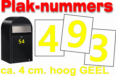 Plaknummers geel 4cm