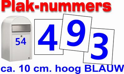 Plaknummers blauw 10cm