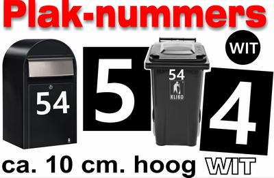 Bekend Huisnummer Stickers Wit 10 cm - Brievenbus Webshop NR08