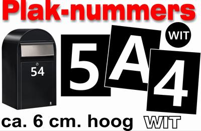 Plaknummers wit 6cm