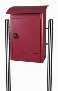 Grote brievenbus Zandvoort bordeaux rood mat - incl. RVS statief
