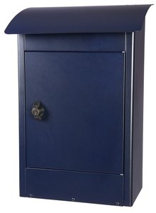 Grote brievenbus Zandvoort zwart/blauw mat