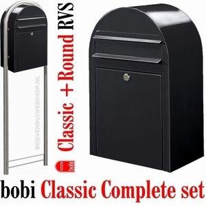 Brievenbus Bobi Classic structuurzwart RAL st9005 + statief round RVS