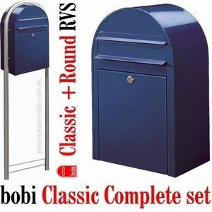Brievenbus Bobi Classic donkerblauw RAL 5003 + statief round RVS