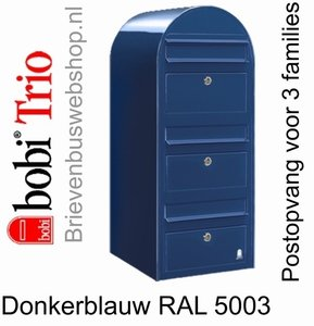 Brievenbus Bobi Trio donkerblauw RAL 5003