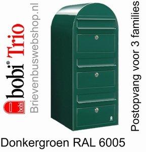 Brievenbus Bobi Trio donkergroen RAL 6005