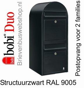 Brievenbus Bobi Duo struktuurzwart RAL 9005