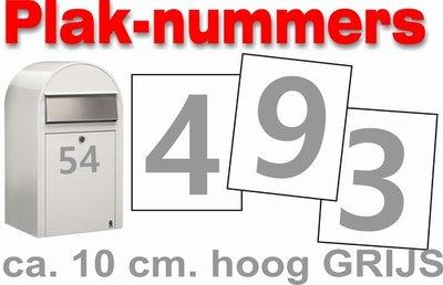 Huisnummer brievenbus/container stickers Grijs 10CM