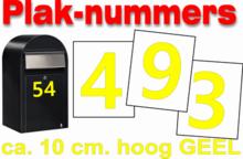 Plaknummers geel 10cm