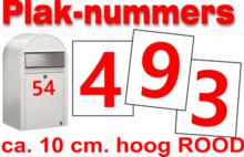 Plaknummers rood 10cm
