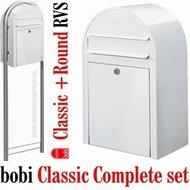 Brievenbus-Bobi-Classic-wit-RAL-9016-+-statief-round-RVS