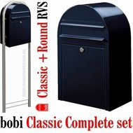 Brievenbus-Bobi-Classic-zwartblauw-RAL-5004-+-statief-round-RVS