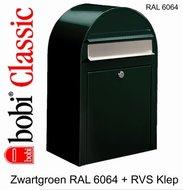 Brievenbus-Bobi-Classic-zwartgroen-RAL-6064-met-RVS-klep