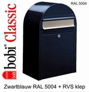 Brievenbus-Bobi-Classic-zwartblauw-RAL-5004-met-RVS-Klep
