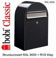 Brievenbus-Bobi-Classic-structuurzwart-RAL-9005-met-RVS-Klep
