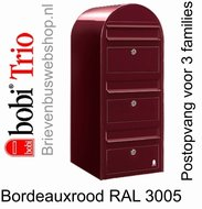 Brievenbus Bobi Trio bordeauxrood RAL 3005