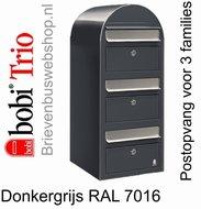 Brievenbus Bobi Trio donkergrijs RAL 7016