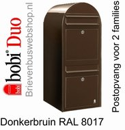 Brievenbus Bobi Duo donkerbruin RAL 8017
