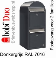 Brievenbus Bobi Duo donkergrijs RAL 7016