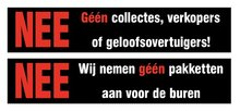 Nee, geen collectanten sticker